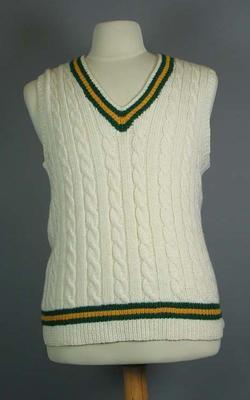 Cricket vest, design similar to Australian team uniform