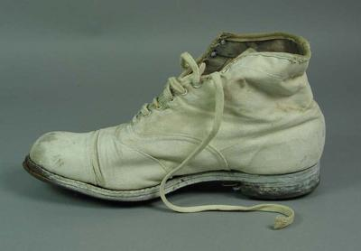 Pair of canvas cricket shoes, worn c1950s