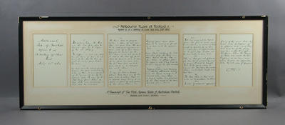 Framed copy of the Melbourne Rules of Football, May 1860; Documents and books; Framed; M1629