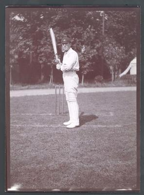 Photograph from Frank Laver's photograph album, cricketer batting - undated