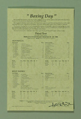 Scorecard for Australia v West Indies Test match at MCG, 26-28 December 1996; Documents and books; M8711.2