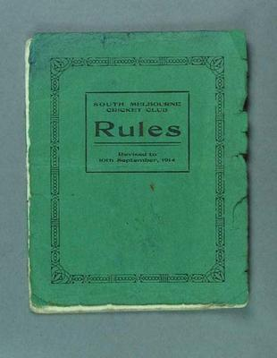 "Booklet, ""South Melbourne Cricket Club Rules 1914"""