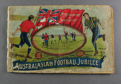 Souvenir programme, Australasian Football Jubilee Carnival 1908; Documents and books; 1986.1150