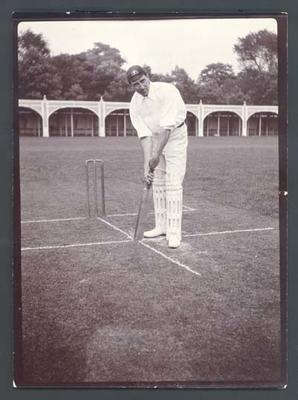 Photograph from Frank Laver's photograph album, Frank Laver batting c1905