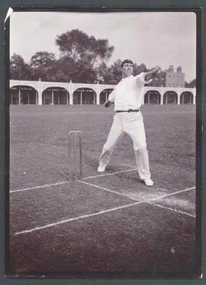 Photograph from Frank Laver's photograph album, Frank Laver bowling c1905