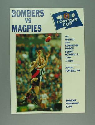 Programme for Collingwood FC v Essendon FC match at The Oval, 14 Oct 1990