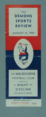Programme for Demons Sports Review, 21 Aug 1959; Documents and books; 1994.3011.41