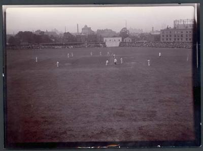 Photograph from Frank Laver's photograph album, cricket match in progress - 1905