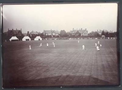 Photograph from Frank Laver's photograph album, cricket game in progress - 1905