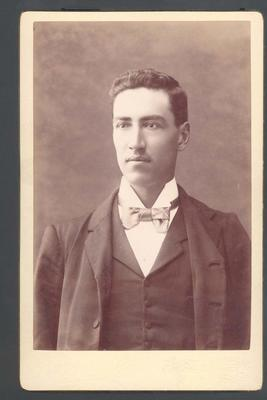 Photograph from Frank Laver's photograph album, image of Frank Laver c1900