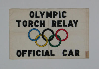 Flag, 1956 Olympic Games torch relay convoy car