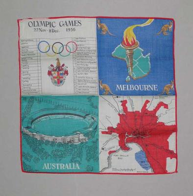 Handkerchief, 1956 Olympic Games design