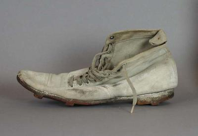 Football boot, worn by VFL Umpire Herb Coombs c1900s