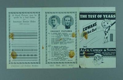 Fixture, Australian cricket season 1932/33