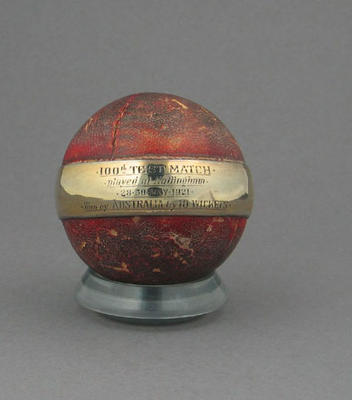 Cricket ball, used during the 100th Test match - England v Australia at Nottingham, May 1921