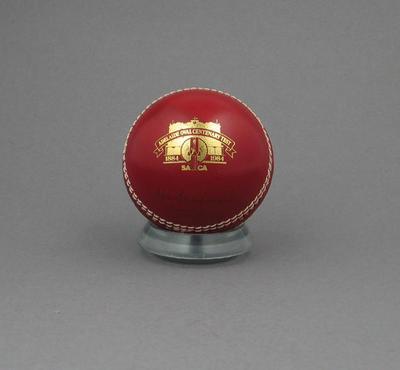 Cricket ball, Adelaide Oval Centenary Test 1884 - 1984; Sporting equipment; M5972