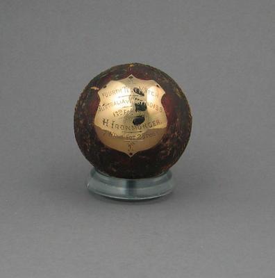 Cricket ball, presented to H Ironmonger - Australia v West Indies Test match, Feb 1931