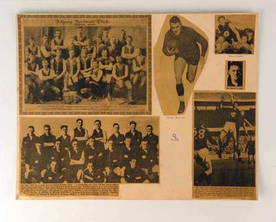 Scrapbook page of clippings, associated with Fitzroy FC c1890-1952; Documents and books; 1994.3006.12