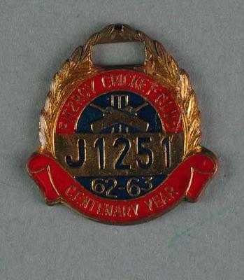 Fitzroy Cricket Club membership medallion, season 1962/63