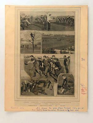 """Newspaper clipping, """"Essendon Footballers at Home"""" c1894"""