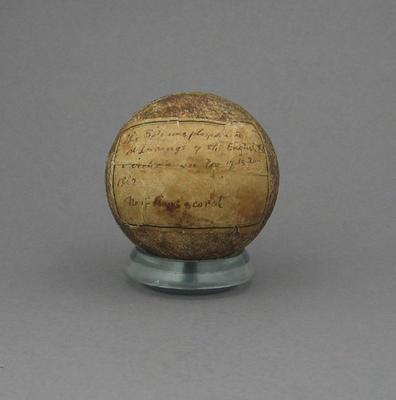 Cricket ball, used during Victoria v England match - Nov 1882; Sporting equipment; M12779