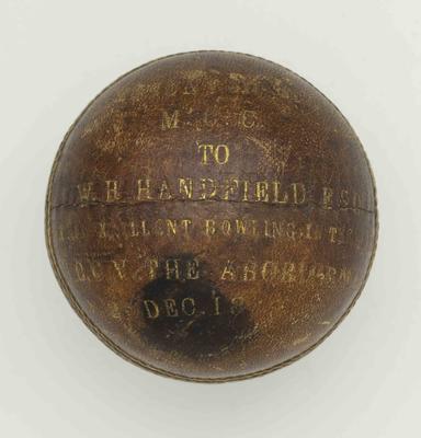 Cricket ball presented to W H Handfield for excellent bowling, Melbourne CC v Aboriginals match - 26 Dec 1866; Sporting equipment; M12778