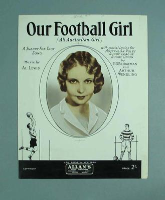 "Illustration for sheet music, ""Our Football Girl (All Australian Girl)"" c1932; Artwork; 1991.2515.2"