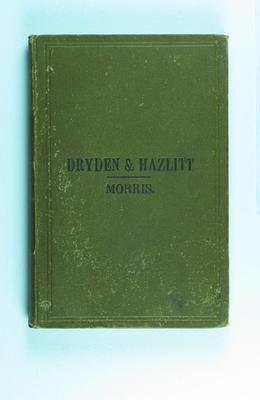 "Book owned by Frank Laver, ""Dryden & Hazlitt"""