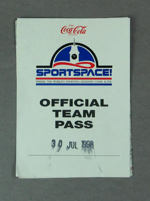 "Admission Pass - ""Coca Cola, Sportspace/Official Team Pass"" 30 July 1998"