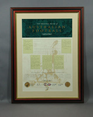 """Print, """"The Original Rules of Australian Football""""; Documents and books; Framed; M10053"""