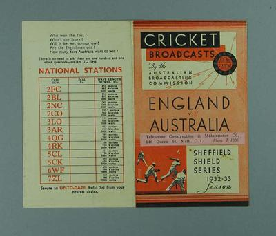 Fixture, ABC Cricket Broadcasts for 1932/33 Season