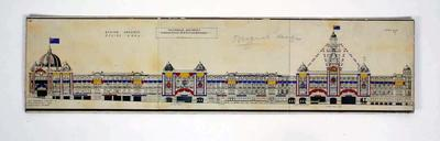 Architectural drawing - Flinders Street Railway Station with decorations for 1956 Olympic Games