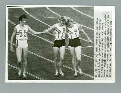 Black and white photograph of Betty Cuthbert, Judith Florence Amoore and Ann Elizabeth Packer - 1964 Olympic Games 400m final
