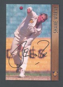 1996 Victorian Bushrangers Shane Warne trade card no. 1; Documents and books; M7526.1