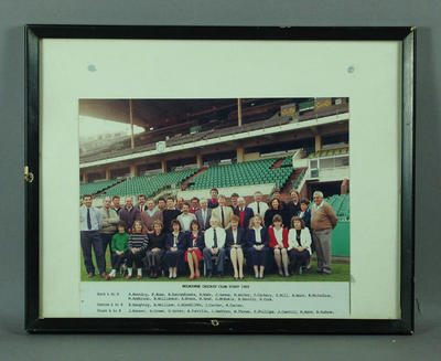 Photograph of Melbourne Cricket Club staff, 1989; Photography; Framed; M11234