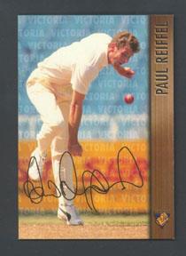 1996 Victorian Bushrangers Paul Reiffel trade card no. 3