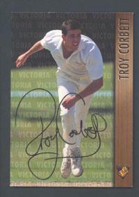 1996 Victorian Bushrangers Troy Corbett trade card no. 10