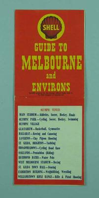 "Map - ""Guide to Melbourne & Environs - Olympic Venues"" - 1956 Olympic Games"