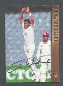 1996 Victorian Bushrangers Tony Dodemaide trade card no. 13