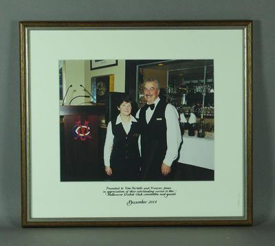 Photograph of Frances Jones & Tom Portelli, MCC Committee Room - Dec 2001