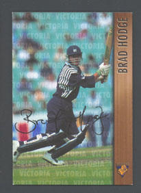 1996 Victorian Bushrangers Brad Hodge trade card no. 17