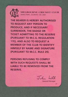 Card issued by Melbourne Cricket Club, authorising ticket and badge checks c1980s-90s