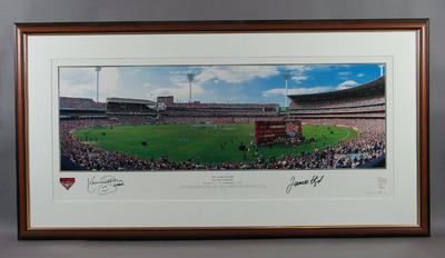 Panoramic photograph of Melbourne Cricket Ground, 2000 AFL Grand Final; Photography; Framed; M11279