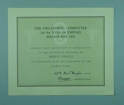 Certificate of Appreciation addressed to Gwenyth Strasser from The Organising Committee for 1956 Melbourne Olympic Games