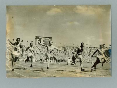 Photograph of finish line for 100m men's sprint final, 1948 London Olympic Games