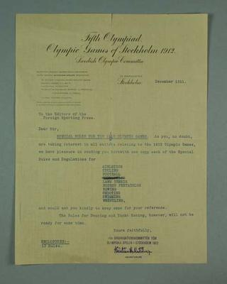 Letter to Foreign Sporting Press, from 1912 Olympic Games Organising Committee - dated December 1911; Documents and books; 1998.3420.2