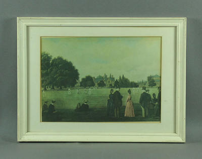 Print depicting a cricket match at Rugby School, late 19th century; Artwork; Framed; M11371