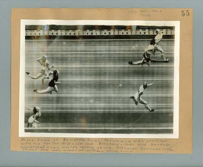 Photograph of three female athletes at 80 metres finish line, 1948 Olympic Games