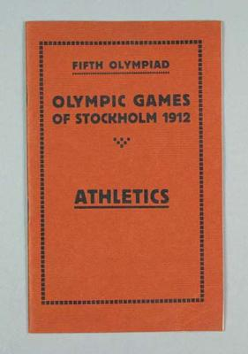Programme - Athletics Programme, Rules & Regulations, 1912 Stockholm Olympic Games