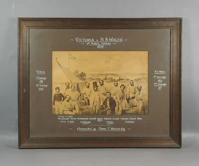 Photograph of cricket teams 'Victoria v N S Wales, 4th March, Sydney 1859'; Photography; Framed; M7310